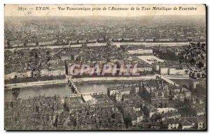 Old Postcard Lyon Panoramic Taken From & # 39Ascenseur Metallic De La Tour De...