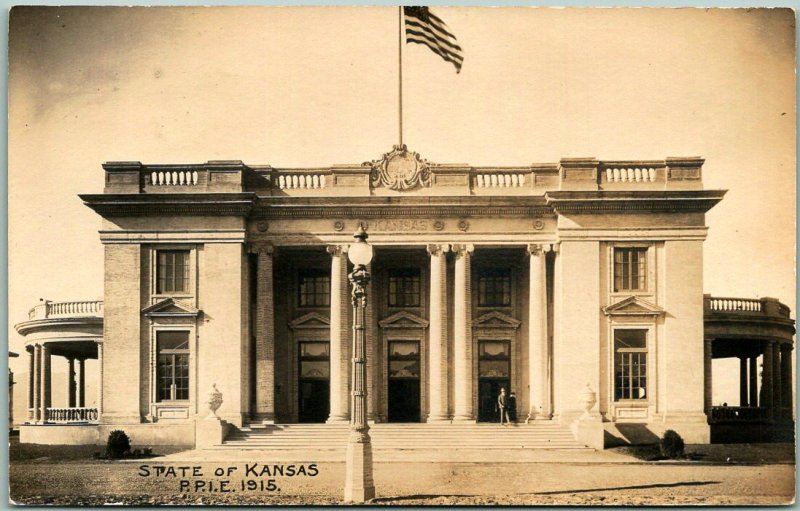 1915 PPIE San Francisco Expo RPPC Photo Postcard KANSAS STATE BUILDING Unused