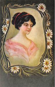 Woman with dark brunette hair and flowers Artist C. Ryan Unused