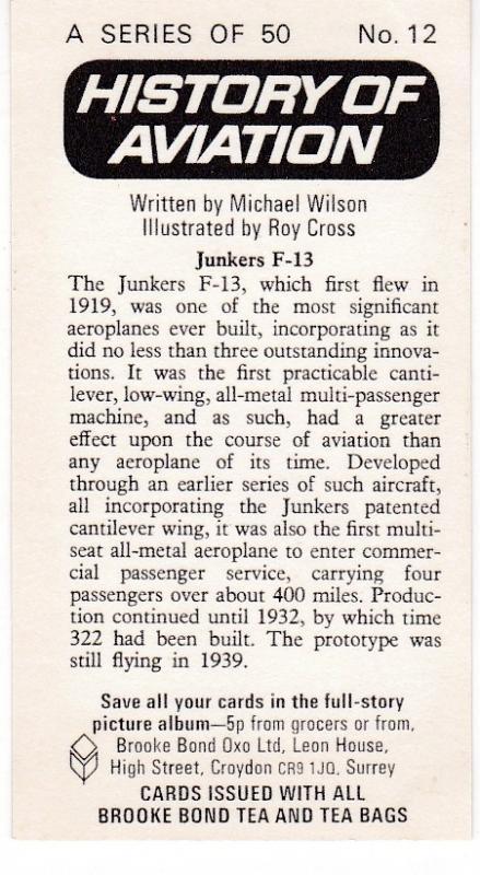 Trade Card Brooke Bond Tea History of Aviation black back reprint No  12  Junker