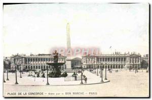 Old Postcard Place De La Concorde By Le Bon Marche Paris