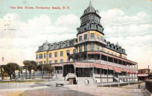 Rockaway Beach New York Sea Side House Street View Antique Postcard K27963
