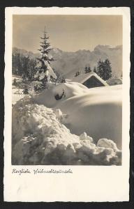 Warm christmas wishes Snow Scene RPPC Used c1935