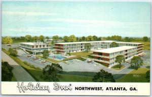 Atlanta, Georgia Postcard HOLIDAY INN Northwest Motel Roadside w/ 1967 Cancel