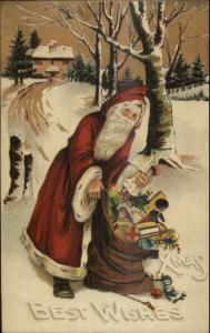 Christmas - Skinny Santa Claus Long Red Robe BB London Series C3 Postcard