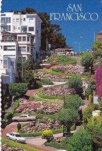 California San Francisco A Cable Car Passes Above Lombard Street