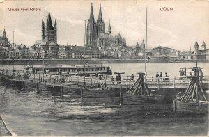 Gruss vom Rhein Coln Cathedral River Boats Postcard
