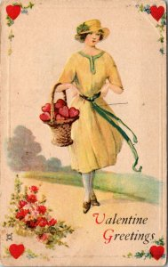 1924 - Women St. Valentine Greeting BASKET Antique Postcard Vintage Post Card
