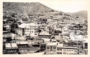 Bisbee Arizona~Birdseye Downtown Storefronts~Homes on Hillside~1940s RPPC