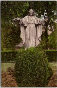 NEWPORT, R.I. Hand-Colored Postcard Convent of Our Lady of the Cenacle Statue