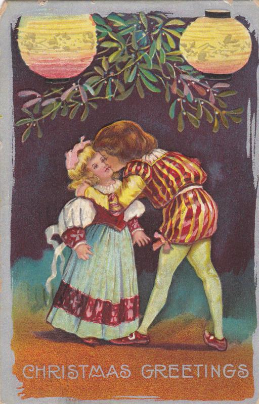 CHRISTMAS; Greetings, Children couple kissing under mistletoe, PU-1909