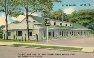 1950s Sayre Motel roadside Pennsylvania Postcard Tichnor 7882