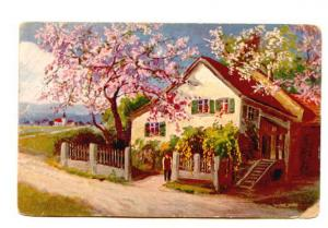 A Cottage Scene with Blossoming Trees, Serie 642
