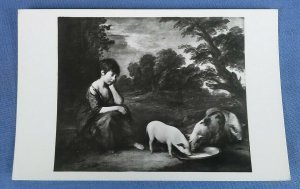 Vintage Real Photo Art Postcard  Girl With Pigs Gainsborough  D1A