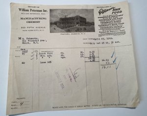 Rare 1919 PETERMAN'S ROACH FOOD William Peterman INC Bug Killer CHEMIST Billhead