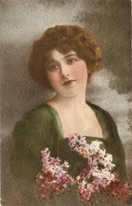 Pretty lady. With flowers Old vintage antique postcard