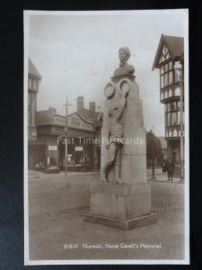 NORWICH Nurse Cavell's MEMORIAL & BUSSEY FORD CAR DEALERS - Old RP Postcard