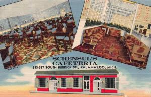 Schensul's Cafeteria, Kalamazoo, Michigan, Early Linen Postcard, Unused
