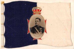 King Manuel II of Portugal Silk Flag Real Photo Insert Postcard JF685732
