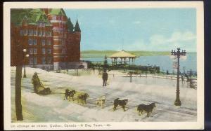 Dog Sled Team Quebec Canada unused 1940's