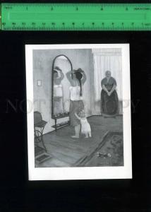 213427 Albert Ebert girl in front of mirror old card