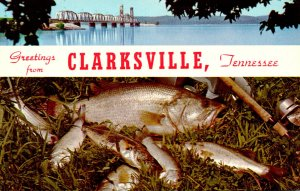 Tennessee Clarksville Greetings With L & N Railroad Bridge Over Kentucky Lake...