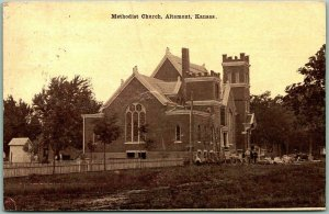 Vintage ALTAMONT Kansas Postcard METHODIST CHURCH Building View c1910 w/ Cancel