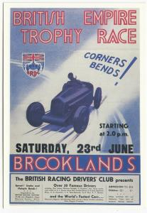 Motor Racing; Brooklands British Empire Trophy Race Poster Repro PPC, Unposted