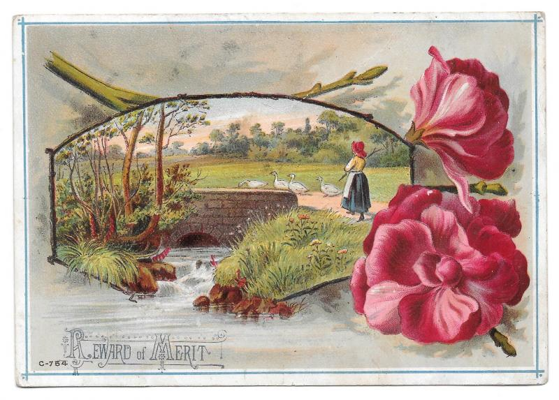 Antique Victorian Reward of Merit Girl Herding Geese PC Size Litho Card Unused