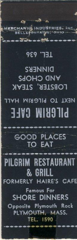 Plymouth, Massachusetts/MA Match Cover, Pilgrim Restaurant & Grill