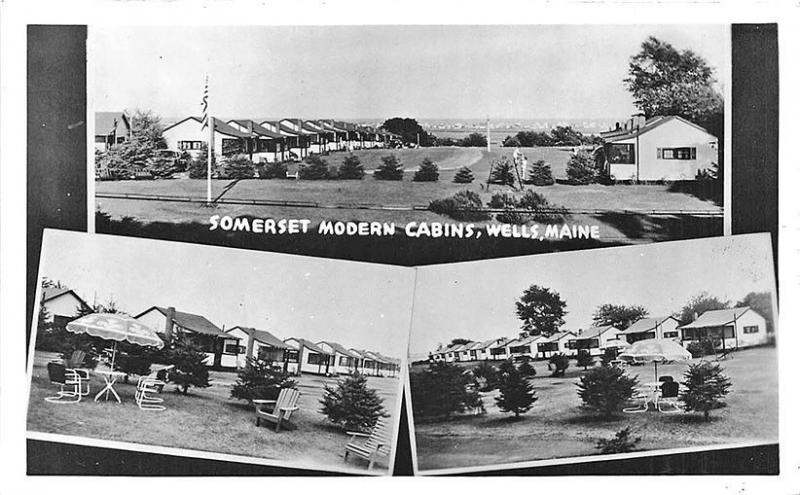 Wells ME Somerset Modern Cabins Multi-View RPPC Postcard