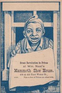 TC: Boy holding Towel, Nast's Mammoth Shoe House, Price List, 1890s