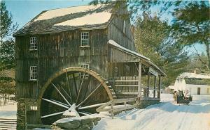 Old Sturbridge Village MA~Oliver Wright Grist Mill~Sleds in Snow 1959 Postcard
