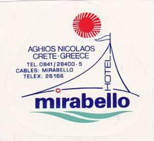 GREECE CRETE MIRABELLO HOTEL VINTAGE LUGGAGE LABEL