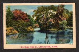 MA Greetings from SO LANCASTER MASS Postcard Linen Postcard Massachusetts