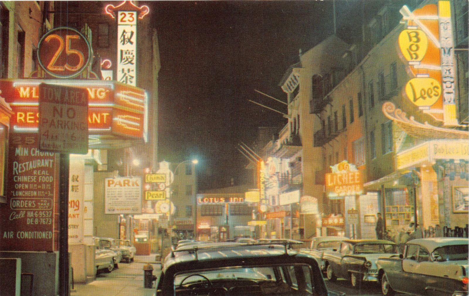 Boston Ma Chinatown At Night Brilliantly Illuminated Alice Chin Postcard 1950s Hippostcard