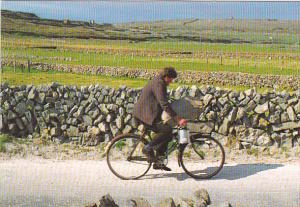 Greetings Bringing Home The Potatoes Man Riding Bicycle