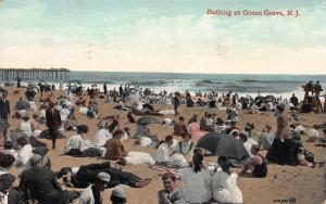 Bathing at Ocean Grove, New Jersey, Early Postcard, Used in 1909