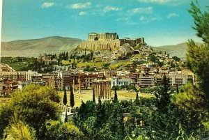 Athens Greece Postcard View of Olympieion and Acropolis Old Vintage Postcard A2