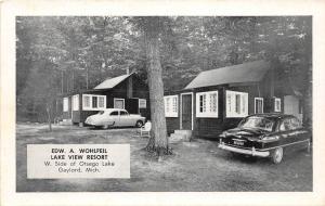 E38/ Gaylord Michigan Mi Postcard c1940s Wohlfeil Lake View Resort