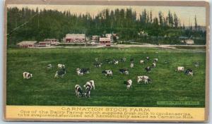 1910s CARNATION MILK Advertising Postcard Dairy Farm Scene Contented Cows