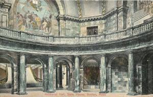 Boston Massachusetts~State House Interior~Marble Memorial Hall~1907 Postcard