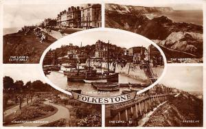 Folkestone, The Harbour Kingsnorth Gardens The leas The Warren Cliff Hall 1947