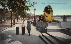 Sphinx, Thames Embankment, London, England, Early Postcard, Unused