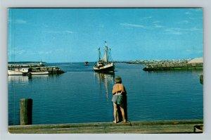 Block Island RI-Rhode Island, Old Harbor, Chrome Postcard