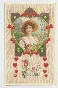 Antique POSTCARD ~ VALENTINE's Day  ~Winsch  ~ Lady, Hearts  ~ Copyright 1910
