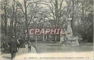 Postcard Old Paris Parc Monceau Statue Guy de Maupassant and Colonnade