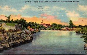 Florida Coral Gables Vista Along Coral Gables Canal 1953