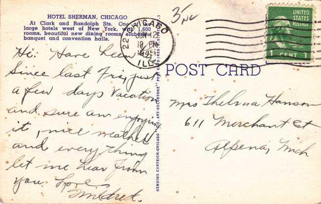 Hotel Sherman - Chicago IL, Illinois - pm 1945 - Linen