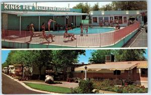 LAS VEGAS, Nevada  NV   Roadside KING'S ROW TRAILER PARK  Pool  Postcard